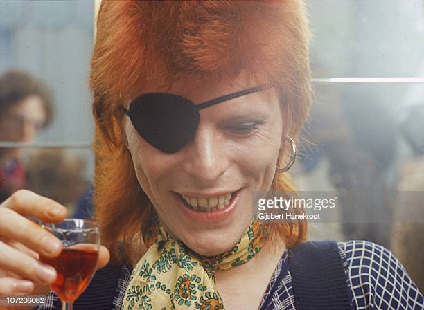 David Bowie appears at a press conference at the Amstel Hotel on 7th February 1974 in Amsterdam, Netherlands.