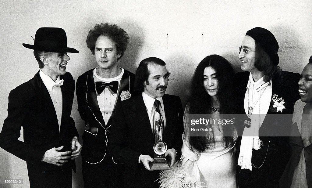 David Bowie, Art Garfunkel, Paul Simon, Yoko Ono and John Lennon
