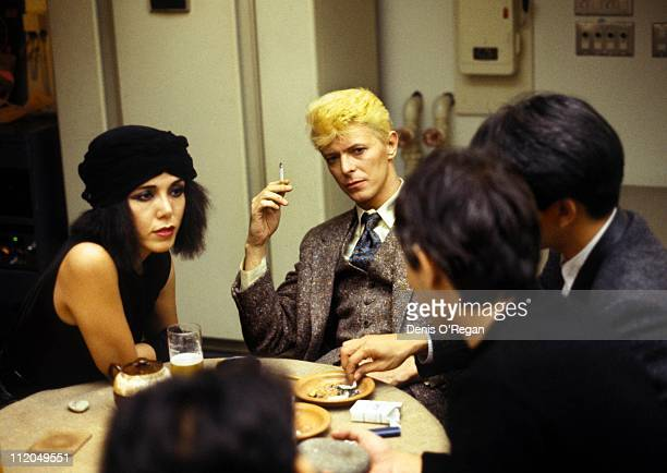 David Bowie at a meeting in Tokyo 1983