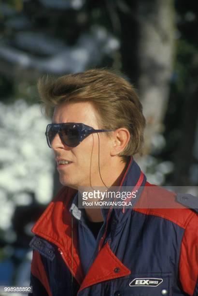 David Bowie aux sports d'hiver à Gstaad le 1 janvier 1986 Suisse