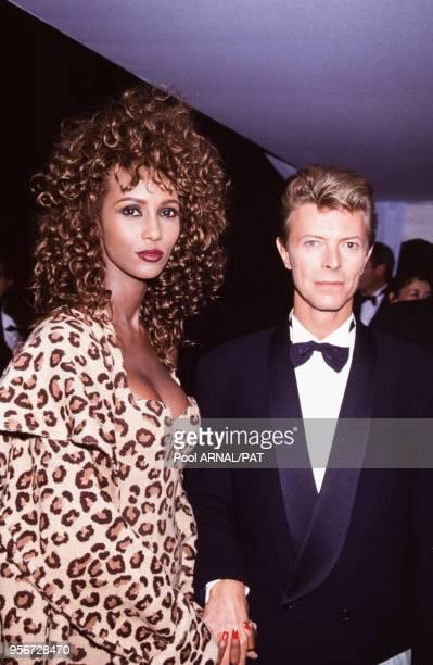 David Bowie avec son épouse Iman en septembre 1991 à Versailles France