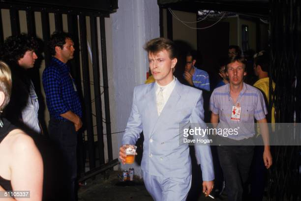 David Bowie backstage at the Live Aid charity concert Wembley Stadium London 13th July 1985