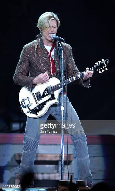 """David Bowie during David Bowie """"Reality Tour"""" at the Birmingham NEC at Birminghan NEC in London, Great Britain."""