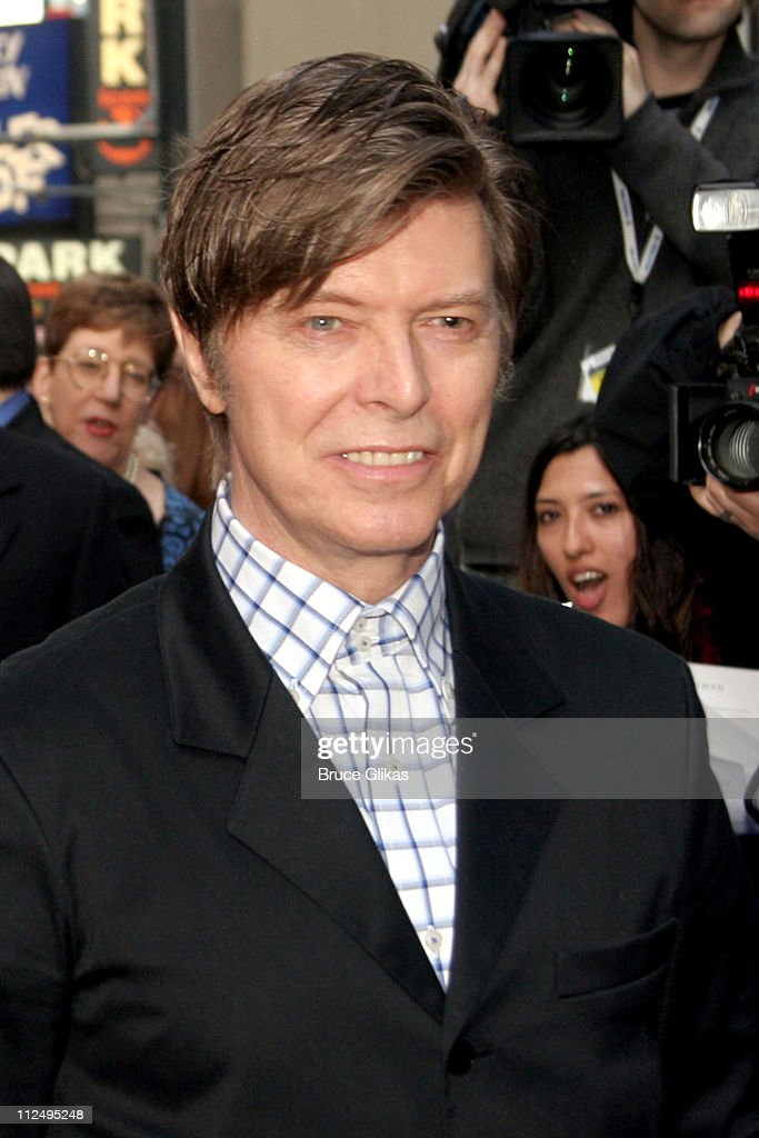 David Bowie during Opening Night of Martin McDonagh's 'The Pillowman' on Broadway - Arrivals at The Booth Theater in New York City, NY, United States.