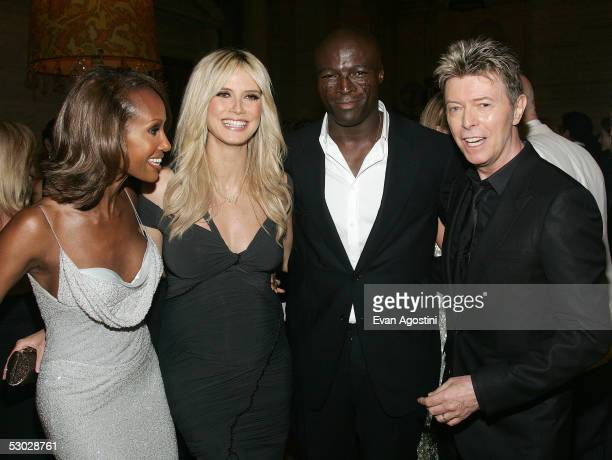 David Bowie his wife Iman Heidi Klum and her husband Seal attend the 2005 CFDA Awards at the New York Public Library June 6 2005 in New York City