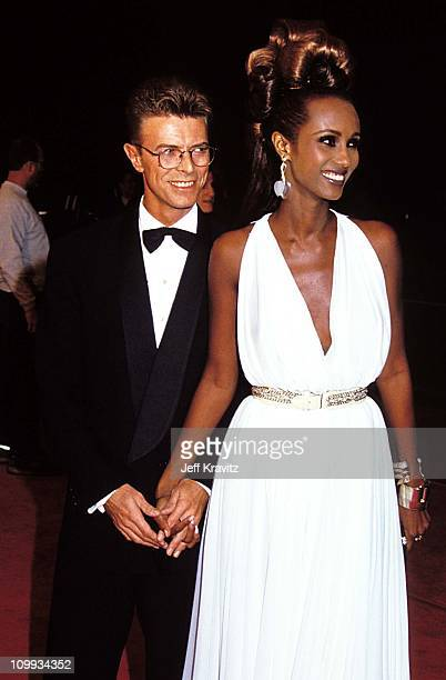 David Bowie Iman during 1992 Cable ACE Awards in Los Angeles California United States