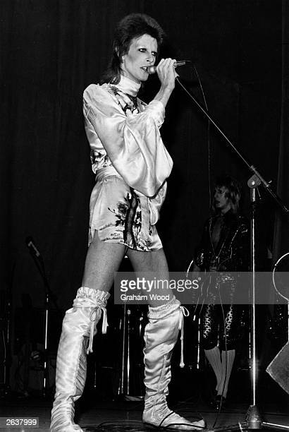 David Bowie in concert at the Hammersmith Odeon London during the last performance he made in the guise of his character Ziggy Stardust