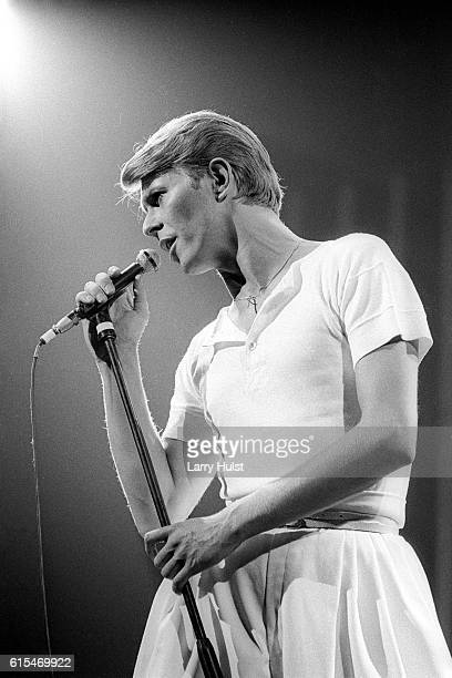 David Bowie is performing with his band at the Fresno Convention Center in Fresno California on April 2 1978