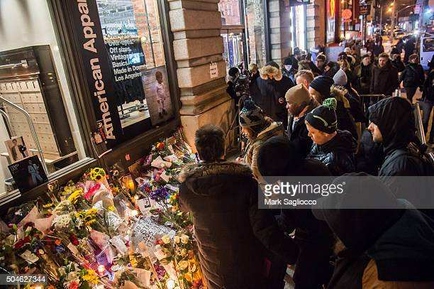David Bowie is remembered by fans who gathered outside his home in SoHo on January 11 2016 in New York United States Bowie passed away at on Sunday...