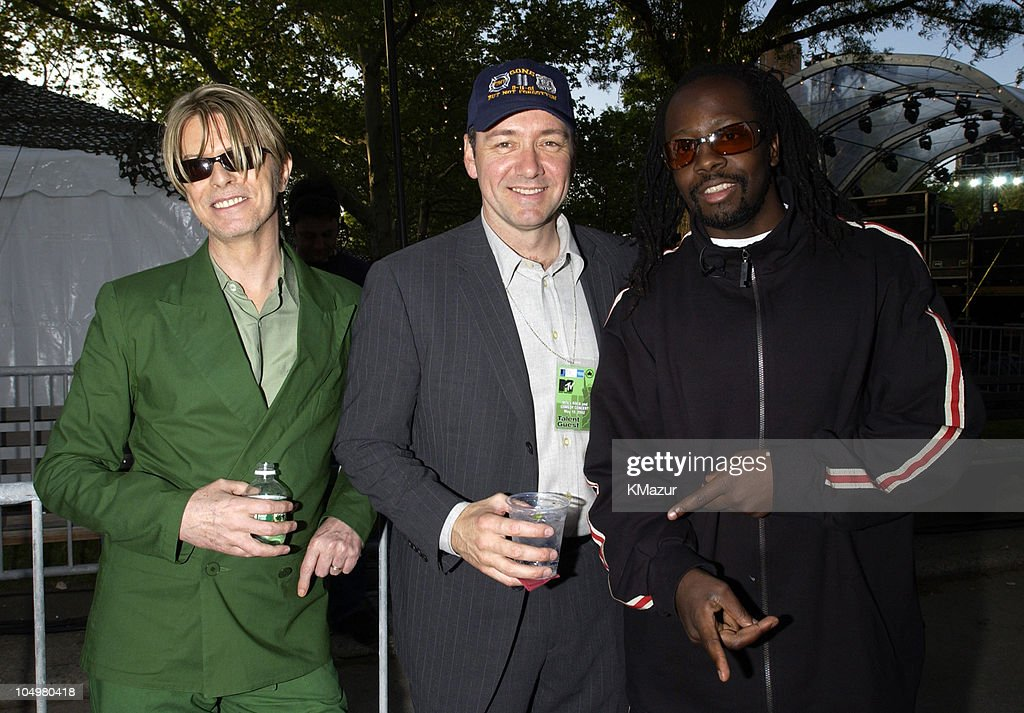 David Bowie, Kevin Spacey and Wyclef Jean during MTV's Rock and Comedy Concert - Backstage at Battery Park in New York City, New York, United States.