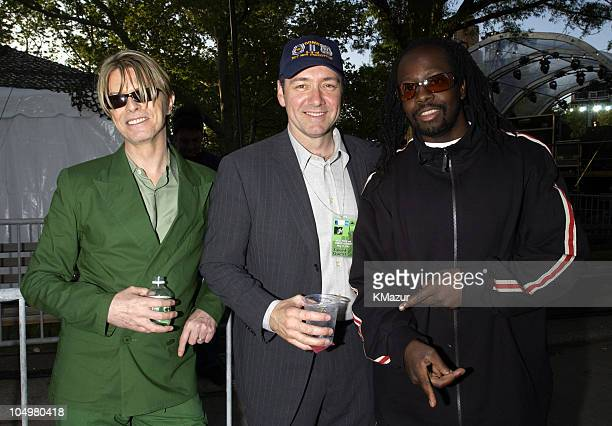David Bowie Kevin Spacey and Wyclef Jean during MTV's Rock and Comedy Concert Backstage at Battery Park in New York City New York United States