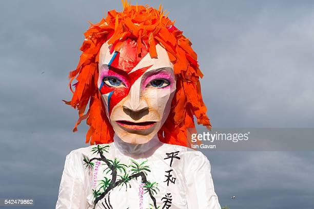 David Bowie mannequin is seen at the Glastonbury Festival at Worthy Farm, Pilton on June 23, 2016 in Glastonbury, England. Now its 46th year the...