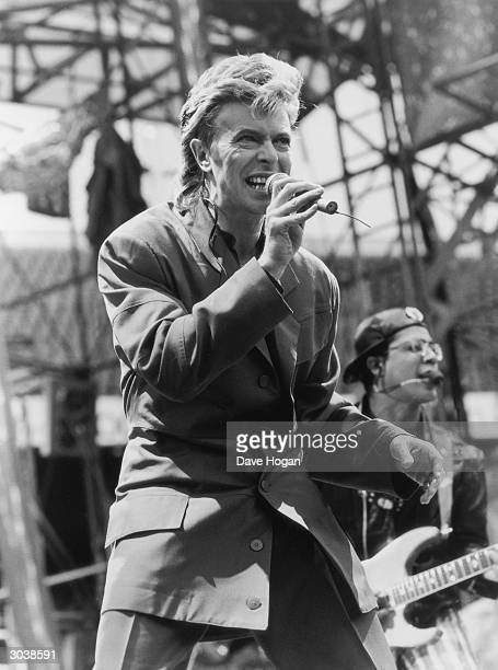 David Bowie on stage at the Feyenoord Stadium in Rotterdam on the first stop of his 'Glass Spider' world tour, 1st June 1987.