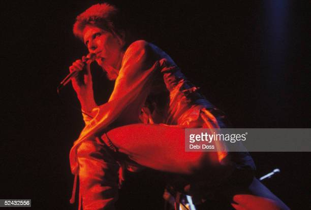 David Bowie performing as Ziggy Stardust at the Hammersmith Odeon 1973