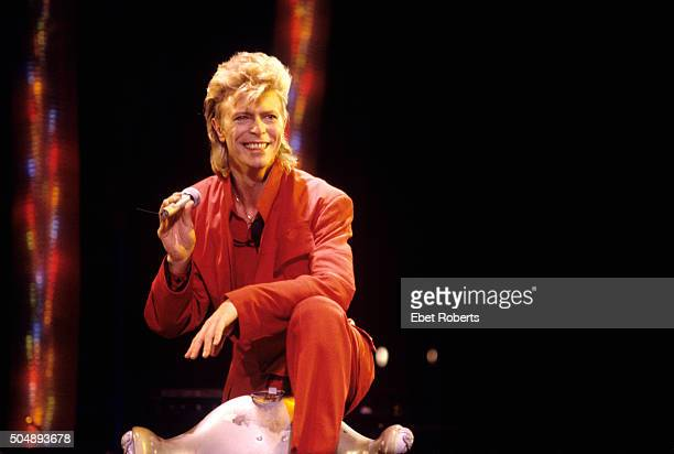 David Bowie performing at Giant Stadium at the Meadowlands in East Rutherford, New Jersey on August 3, 1987.
