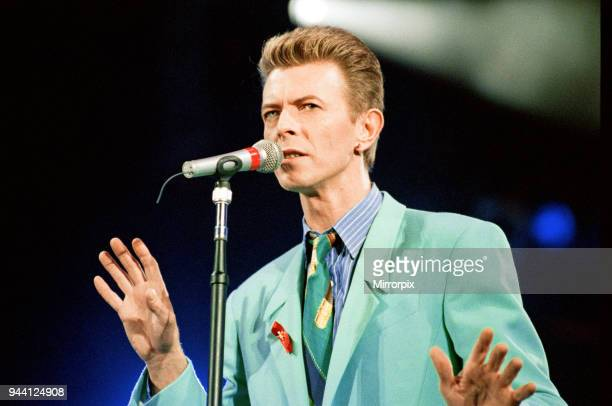 David Bowie performing at The Freddie Mercury Tribute Concert for Aids Awareness, at Wembley Stadium, Picture taken Easter Monday, 20th April 1992.
