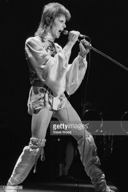 David Bowie performing at the Hammersmith Odeon, at the last of his Ziggy Stardust concerts, London, 3rd July 1973.