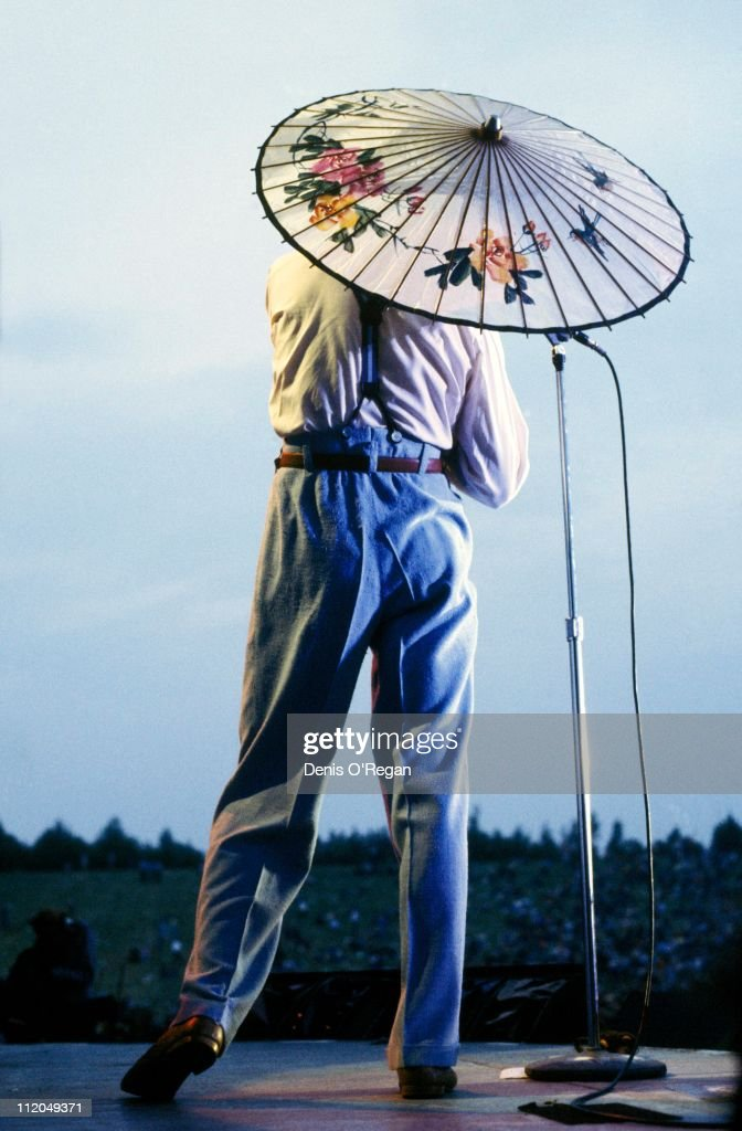 David Bowie performing on stage at the Milton Keynes Bowl, 1983.