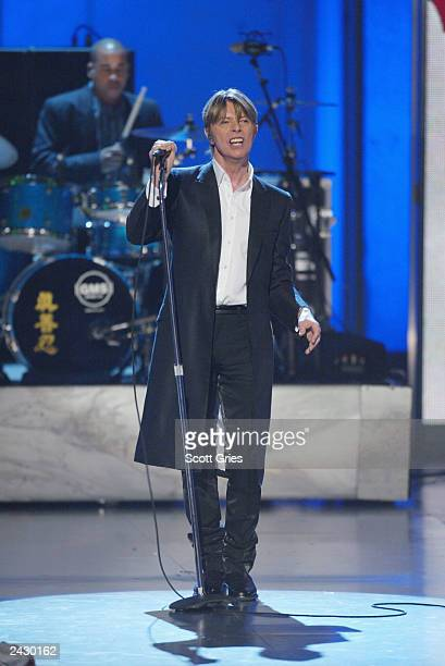 David Bowie performing onstage at the 2002 VH1 Vogue Fashion Awards at Radio City Music Hall in New York City 10/15/02 Photo by Scott Gries/Getty...