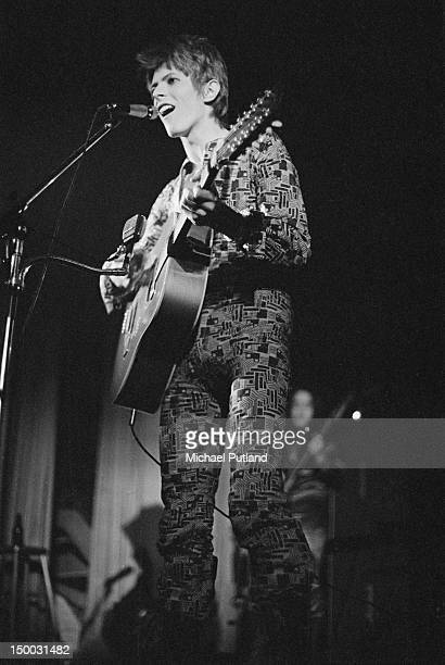 David Bowie performing with the Spiders From Mars on the first date of the group's Ziggy Stardust Tour at the Borough Assembly Hall Aylesbury...