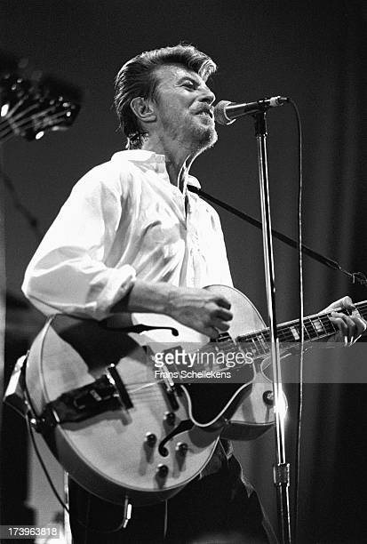 David Bowie performs live on stage with Tin Machine at the Paradiso in Amsterdam, Netherlands on 17th November 1988.