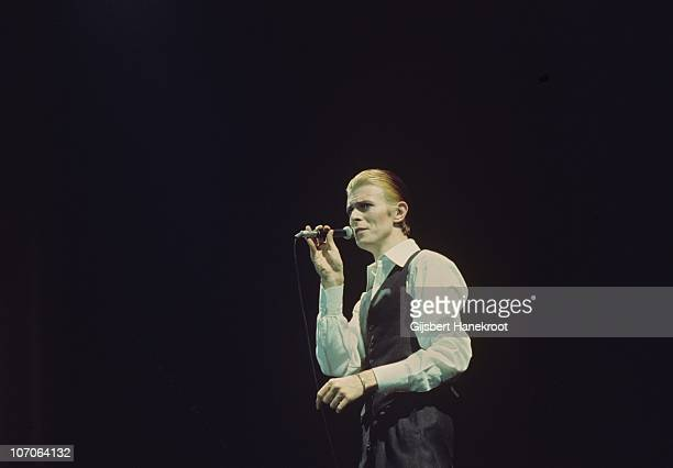 David Bowie performs on stage at Ahoy on the Thin White Duke tour on 13th May 1976 in Rotterdam Netherlands