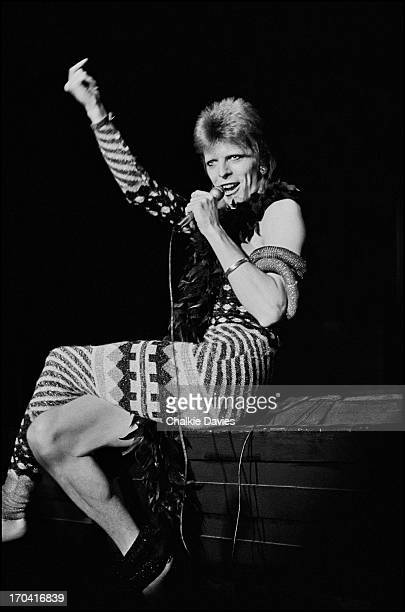 David Bowie performs on stage at Hammersmith Odeon on the last night of the Ziggy Stardust Tour London 3rd July 1973 At the end of the show David...