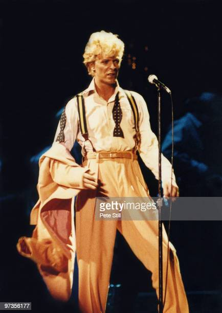 David Bowie performs on stage on his 'Serious Moonlight' tour at Wembley Arena on June 2nd 1983 in London England