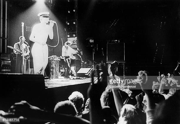 David Bowie performs on stage on the Low And Heroes World Tour at Ahoy Rotterdam Netherlands on 7th June 1978 LR Simon House David Bowie Carlos Alomar