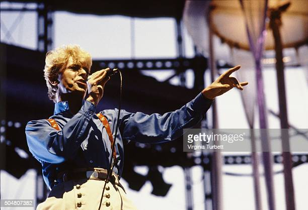 David Bowie performs on stage on the 'Serious Moonlight' tour Milton Keynes Bowl United Kingdom July 1983
