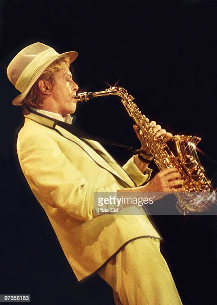 David Bowie performs on stage playing saxophone on his 'Serious Moonlight' tour at Wembley Arena on June 2nd 1983 in London England