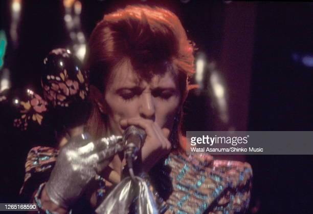 David Bowie performs 'The Jean Genie' on BBC TV show 'Top Of The Pops' London on 3rd January 1973 The performance was broadcast on 4th January 1973...