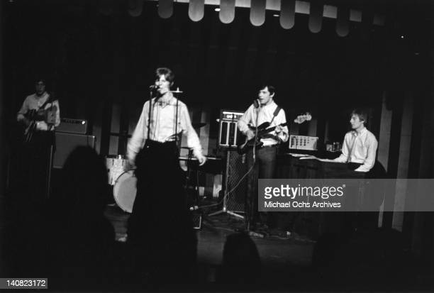 David Bowie performs with his band 'The Buzz' at the Marquee Club in April 1966 in London England