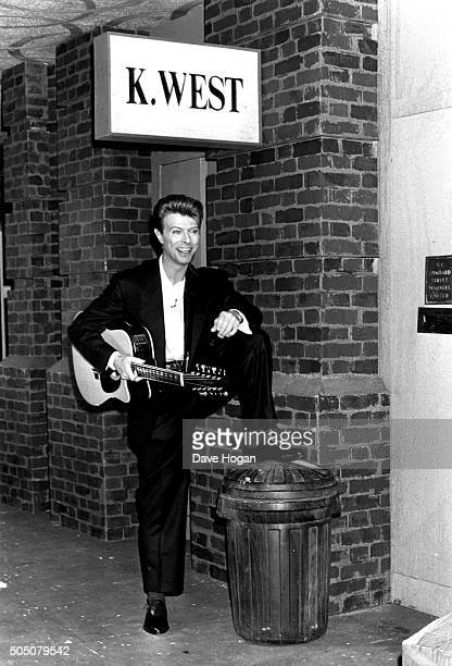 David Bowie poses at the Sound Vision Tour Photo Call held at the Rainbow Theatre ahead of David's 'Sound Vision' tour January 23 1990 in Finsbury...