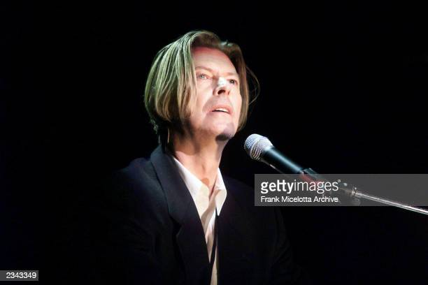 David Bowie rehearsing for The Concert for New York City to benefit the victims of the World Trade Center disaster at Madison Square Garden in New...
