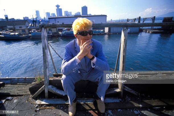 David Bowie relaxes at a quayside in Vancouver 1983