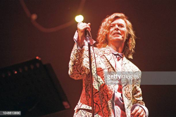 David Bowie seen here performing on the pyramid stage at Glastonbury. 25th June 2000.