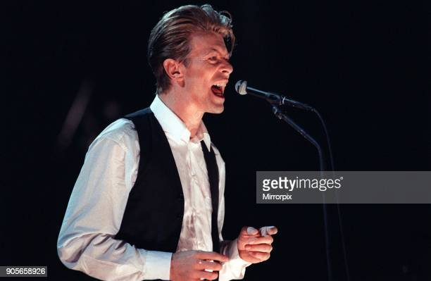 David Bowie singer at concert at the NEC 20th March 1990