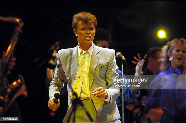 David Bowie sings during Live Aid in Wembley stadium 13 July 2004.