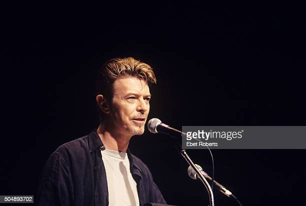 David Bowie speaking at Alice Tully Hall during a CMJ Conference in New York City on September 8 1995