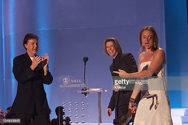 David Bowie Stella McCartney Paul McCartney during 2000 VH1 Vogue Fashion Awards Arrivals at Madison Square Garden in New York City New York United...