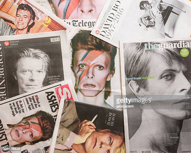 David Bowie tributes on British newspaper front pages.