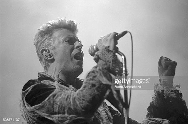 David Bowie, vocal-guitar, performs at the Ahoy hal in Rotterdam, Netherlands on 15th November 1996.