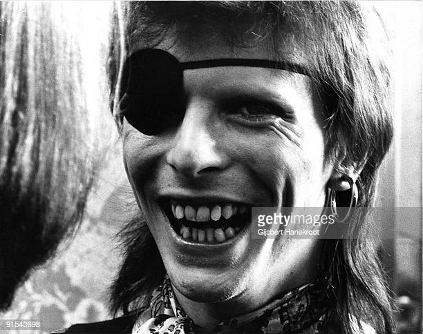David Bowie wearing an eye patch conducts a press conference at the Amstel Hotel Amsterdam on February 13 1974