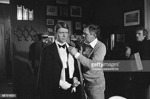 David Bowie with director David Hemmings on the set of Hemmings' film 'Just a Gigolo' 2nd January 1978