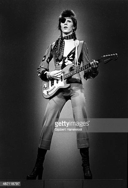 David Bowie with eye patch performs 'Rebel Rebel' in the Top Pop Studios Hilversum Netherlands on February 13 1974
