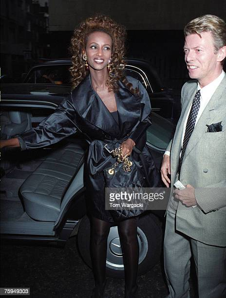 David Bowie with his wife Iman at the musical Sunset Boulevard on July 10 1993 in London