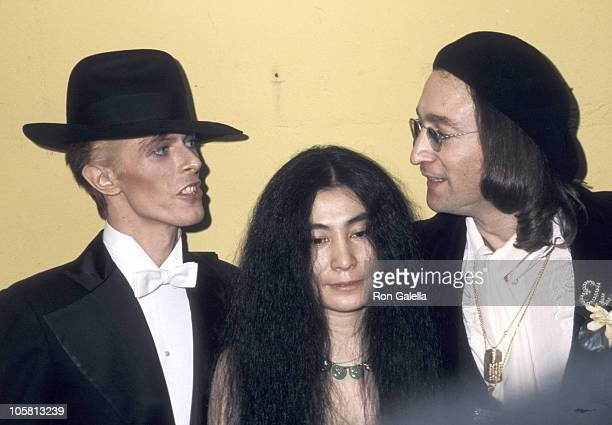 David Bowie Yoko Ono and John Lennon during The 17th Annual GRAMMY Awards at Uris Theater in New York City New York United States