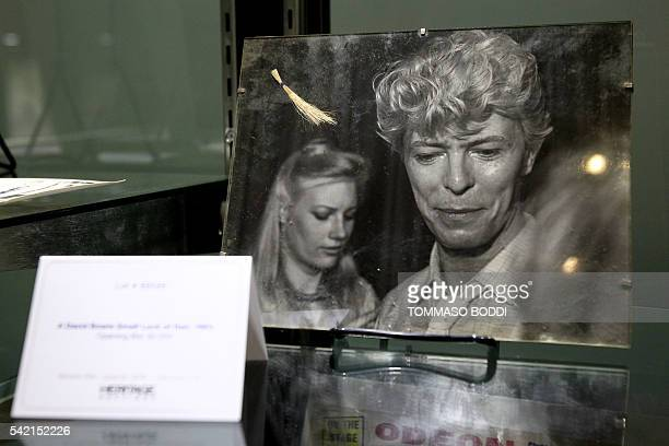 David Bowie's small lock of hair is displayed at a media preview June 22 2016 at Heritage Auctions in Beverly Hills California A snippet of the...