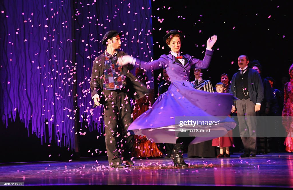 David Boyd and Annemieke Van Dam perform on stage during the Mary Poppins musical premiere at Ronacher Theater on October 1, 2014 in Vienna, Austria.